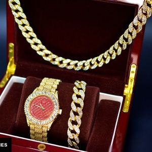Other - Full Iced Out Watch, Necklace and bracelet Set
